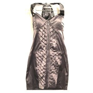 Dresses & Skirts - Silver Silk Corset Cocktail Dress